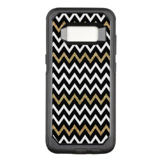 Cool Black White & Gold Glitter Chevron Pattern OtterBox Commuter Samsung Galaxy S8 Case