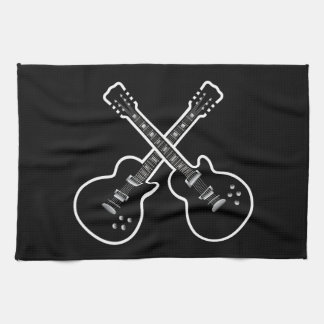 Cool Black & White Guitars Kitchen Towel