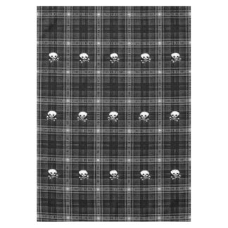 Cool Black & white plaid Skull  tablecloth