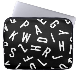Cool black white typography simple modern pattern laptop sleeves