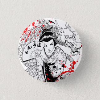 Cool blood splatter geisha with fan dragon tattoo 1 inch round button