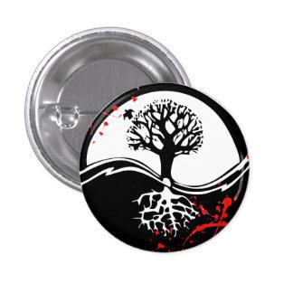 Cool blood splatter Yin Yang Tree tattoo art 1 Inch Round Button