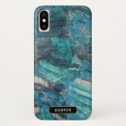Cool Blue Abstract Marble Pattern with Name Case-Mate iPhone Case