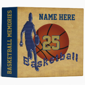 Cool Blue and Gold Basketball Binder PERSONALIZED