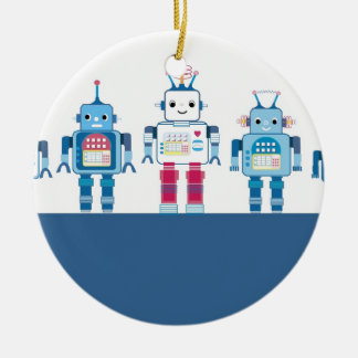 Cool Blue and Red Robots Novelty Gifts Ceramic Ornament