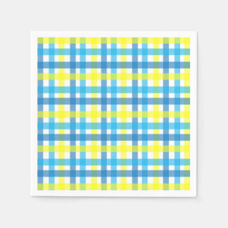 Cool blue and yellow stripes party paper napkin