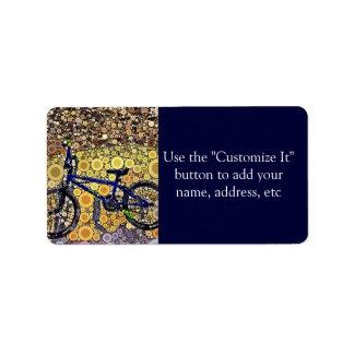 Cool Blue Bike Concentric Circle Mosaic Pattern Label