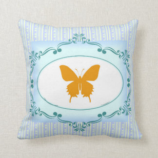 Cool Blue Butterfly Pillow for Beach House