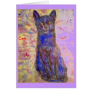 cool blue cat greeting card