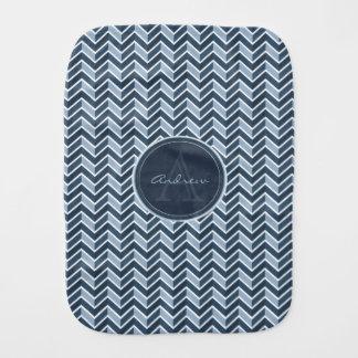 Cool Blue Chevron Pattern Monogram Burp Cloth