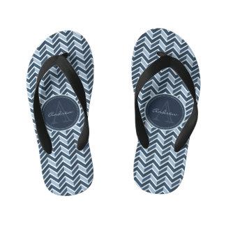 Cool Blue Chevron Pattern Monogram Kid's Flip Flops