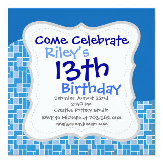 """Cool Blue Colorful Tile Wave Pattern Gifts 5.25"""" Square Invitation Card"""
