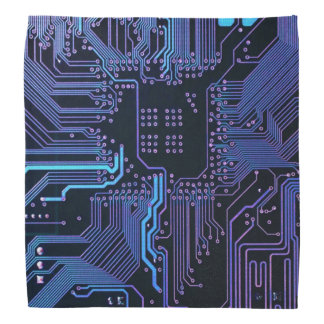 Cool Blue Computer Circuit Board Bandana