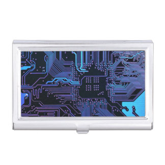 Cool Blue Computer Circuit Board card holder