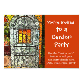 "Cool Blue Door Southwestern Courtyard Wooden Door 5"" X 7"" Invitation Card"
