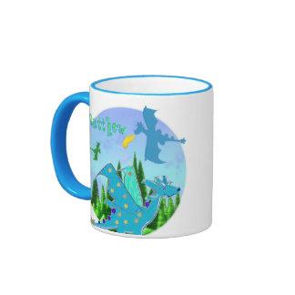 Cool Blue Dragon Mug customizable Name Matthew