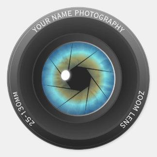 Cool Blue Eye Camera Lens Custom Name Photographer Classic Round Sticker
