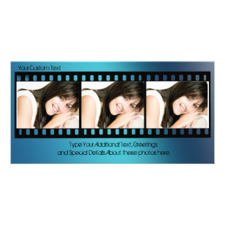 Cool Blue Filmstrip Photo Card, All-Occasion