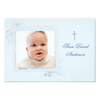 "Cool Blue Flat Photo Thank You 3.5"" X 5"" Invitation Card"