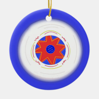 Cool Blue Frisbee Ceramic Ornament