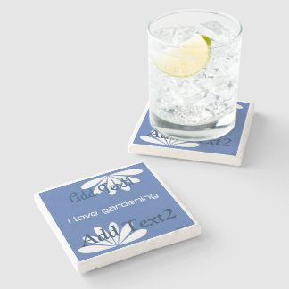 Cool Blue Gardener Add Text Stone Coaster