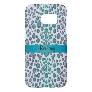 Cool Blue Green Leopard Animal Print Samsung Galaxy S7 Case