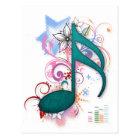 Cool blue grunge music note stars flowers swirls postcard