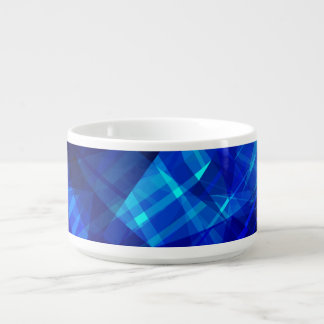 Cool Blue Ice Geometric Pattern Chili Bowl