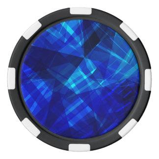 Cool Blue Ice Geometric Pattern Poker Chips