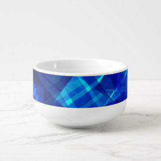 Cool Blue Ice Geometric Pattern Soup Bowl With Handle