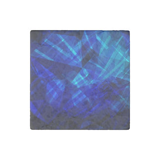 Cool Blue Ice Geometric Pattern Stone Magnets