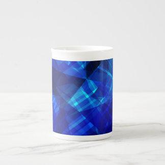 Cool Blue Ice Geometric Pattern Tea Cup