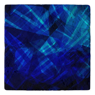 Cool Blue Ice Geometric Pattern Trivet