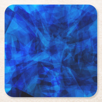 Cool Blue Ice Geometric Shards Square Paper Coaster