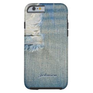 Cool Blue Jean & Threads Pattern Monogram Name Tough iPhone 6 Case