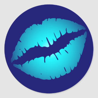Cool Blue Kiss Classic Round Sticker