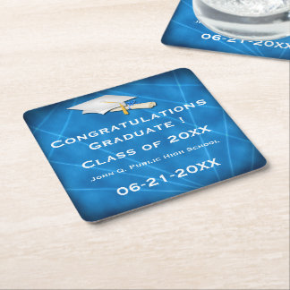 Cool Blue Lazer Light Graduation Paper Coasters