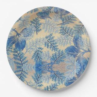Cool Blue Leaf Design Paper Plates