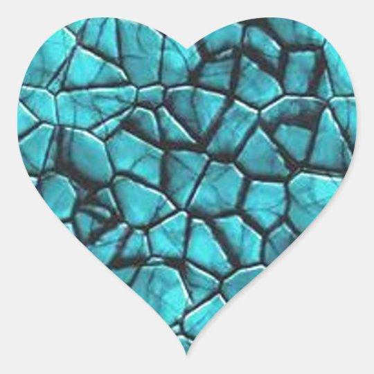 Cool Blue marble stone texture design Heart Sticker