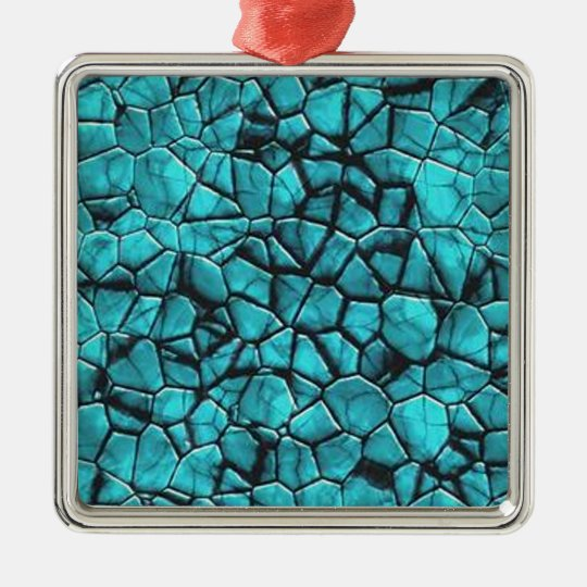 Cool Blue marble stone texture design Metal Ornament