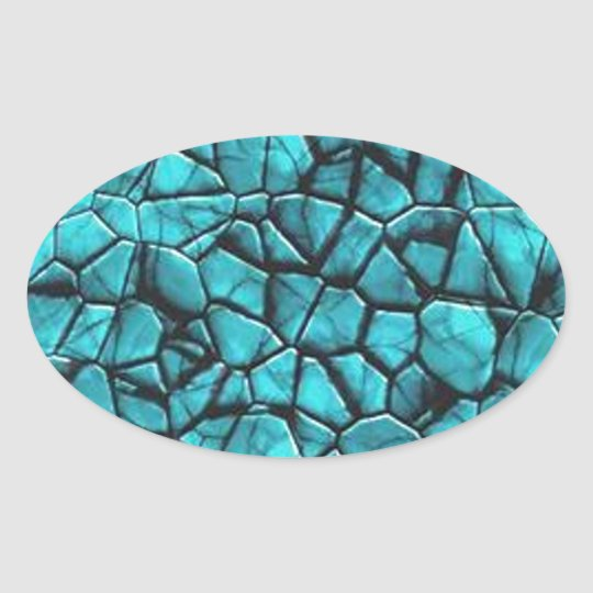 Cool Blue marble stone texture design Oval Sticker