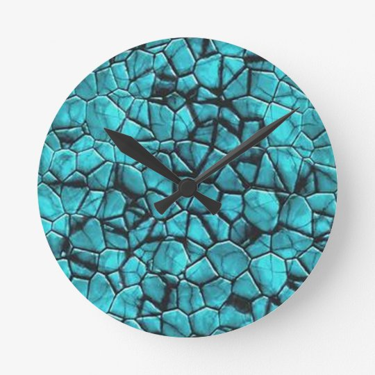 Cool Blue marble stone texture design Round Clock