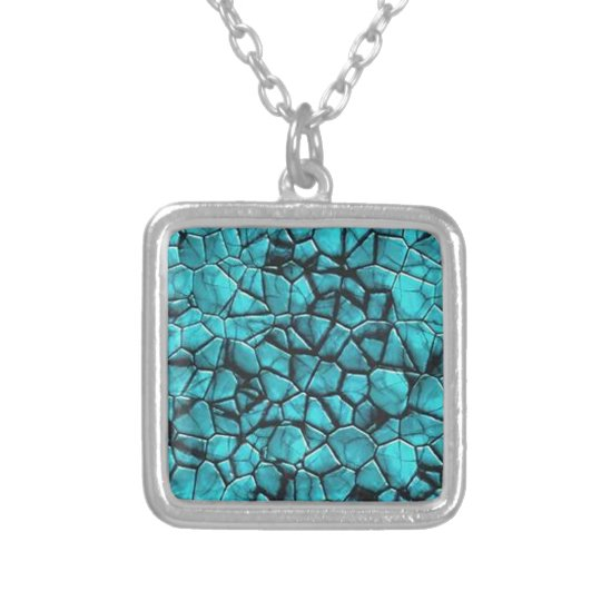 Cool Blue marble stone texture design Silver Plated Necklace