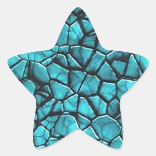 Cool Blue marble stone texture design Star Sticker