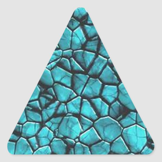 Cool Blue marble stone texture design Triangle Sticker