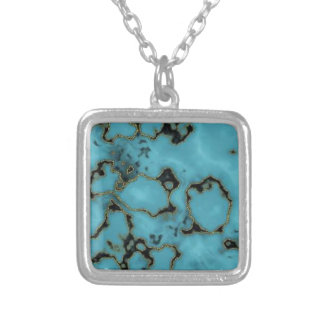Cool Blue marble texture design Silver Plated Necklace