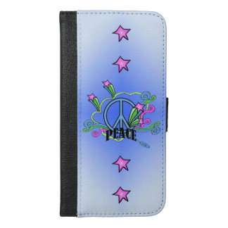 Cool Blue Peace sign Colorful Swirls Pink Stars