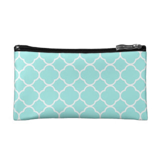Cool Blue Quatrefoil Pattern Cosmetic Bags
