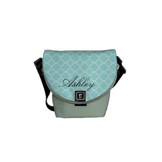 Cool Blue Quatrefoil Pattern Monogram Commuter Bags