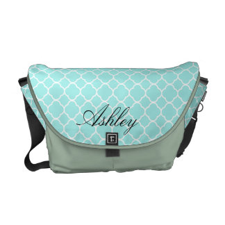 Cool Blue Quatrefoil Pattern Monogram Courier Bags